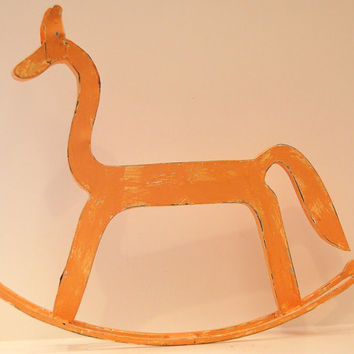 Folk Art Rocking Horse Large Vintage Metal Handcrafted Shabby Chic Apricot Orange Amish Handmade