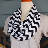 Black and White Chevron Jersey Knit Infinity Scarf