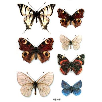 3PCS Cute Butterfly Waterproof Temporary Tattoos Men Harajuku Flash Gold tattoo Kids henna tatoo Animal temporary tattoo sticker