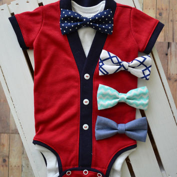 Patriotic Infant Baby Cardigan: Red, White, and Blue with Interchangeable Tie Shirt and Patriotic Bow Tie