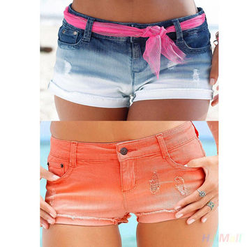 2016 New Fashion women's jeans Summer Sexy Jeans Denim Shorts Slim Korean Casual women Jeans Shorts Gradient Color