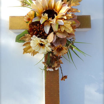 Silk Floral Memorial Cross (Large) - Cream and Brown Flowers - In Loving Memory