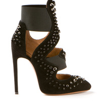 AZZEDINE ALAÏA BLACK STUDDED SUEDE HIGH PUMPS