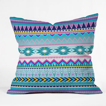 Iveta Abolina Tribal Teal Throw Pillow