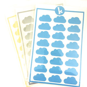 24 Cloud Stickers - Envelope Seals - Wedding Invitations and Favors - Scrapbooking - Wall safe vinyl decal - DIY - Removable Stickers