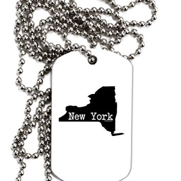 New York - United States Shape Adult Dog Tag Chain Necklace by TooLoud
