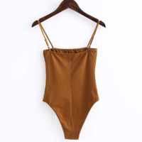 Sexy One word collar Harness vest show thin top women brown