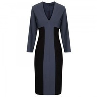 Two-tone stretch jersey crepe dress