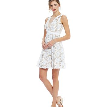 Adrianna Papell Petite Illusion Floral Lace A-Line Dress   Dillards