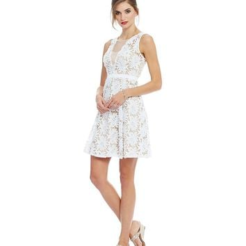 Adrianna Papell Petite Illusion Floral Lace A-Line Dress | Dillards