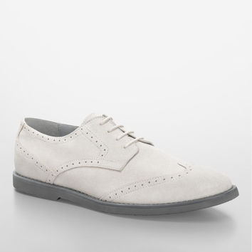 white faxon lace-up suede oxford shoe