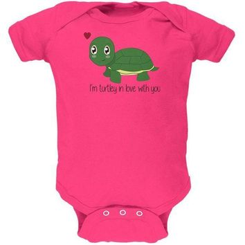 CREYCY8 Turtle I'm Totally In Love With You Funny Pun Valentine's Day Soft Baby One Piece