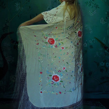 Large hand embroidered silk fringed piano shawl / nude mocha square Spanish manton with colourful floral threads / romantic bridal wrap