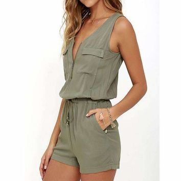 2018 Summer Rompers Womens Jumpsuit Sexy Sleeveless V Neck Playsuit Fashion Zipper Slim Fitted Bodysuit Solid Overalls