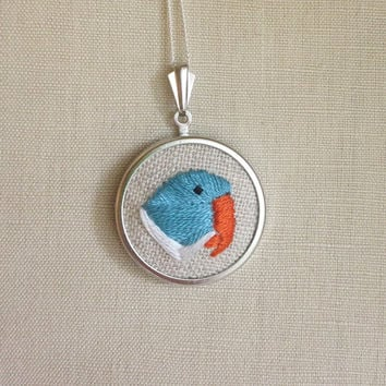 Indian Ringneck Parrot Embroidered Bird Necklace Embroidery Pendant or Brooch