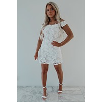 Just Say Yes Dress: White/Nude