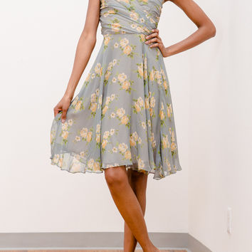 Betsey Johnson Floral Chiffon Strapless Dress
