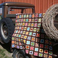 Vintage Granny Square Fringed Afghan Handmade Lovely Bright Colors an Brown