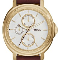 Women's Fossil 'Chelsey' Crystal Bezel Multifunction Leather Strap Watch, 39mm