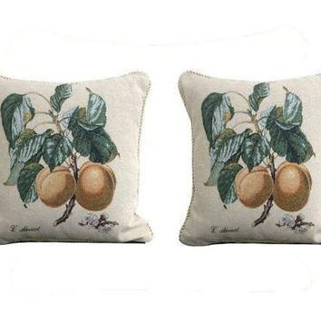 "Set of Two Apricot Fruit Elegant Novelty Woven Square Throw Toss Accent Cushion Cover Pillow with Inserts - 2-Pieces - 18"" x 18"" (CC45X45CM313)"