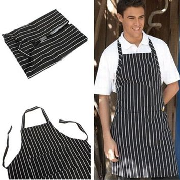 Black Adult Kitchen Restaurant Bar Chef Cook Waiter Polyester Stripe Bib Apron