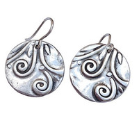 Fine Silver, Silver, PMC, Earrings, Fashion Jewelry, Vine, Vines, Leaf, Leaves, Birthday, Wedding, Anniversary, Sterling Silver, Wire