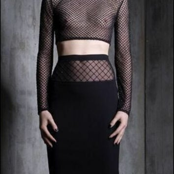Sexy Bottom & Top Lace See Through Women's Fashion Bandages Dress Prom Dress [4919739332]