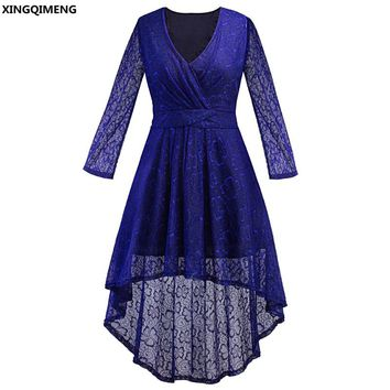 In Stock Cheap Simple High Low Cocktail Dress Lace Long Sleeve Elegant Royal Blue Formal Dress Plus Size Short Prom Gown