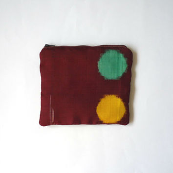 Deep red makeup bag with large dot of yellow and green made with vintage burgandy silk kimono, padded zipper pouch Japanese fabric