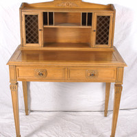 Small Writing Desk with Cubbies and Wire Mesh Cabinets