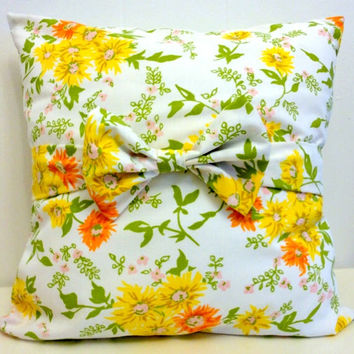 Vintage Floral Pillow- 16x16 Pillow Cover - Upcycled Yellow Vintage Floral -Yellow and Orange Daisy Bow Pillow