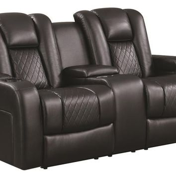 Contemporary Style Padded Plush Leatherette Power Motion Loveseat, Dark Brown - 602302P