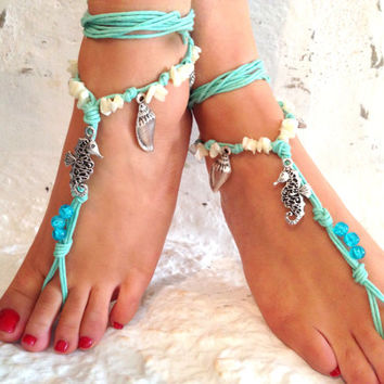 Barefoot Sandals Barefoot Beach Jewelry Blue Seashells Hippie Sandals Foot Jewelry Toe Thong