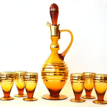 1940s Glass Decanter and Glasses Hollywood Regency Amber and Gold
