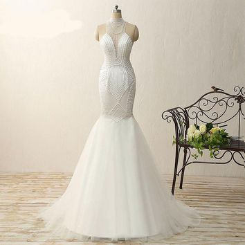 Mermaid High Neck Tulle Beading Long Prom Dresses Beauty White Sleeveless Floor Length Prom Dress