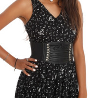 Black Lace-Up Corset Stretch Belt