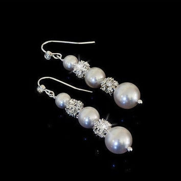 Bridal White Swarovski Pearls and Rhinestones Earrings - pick your pearl color
