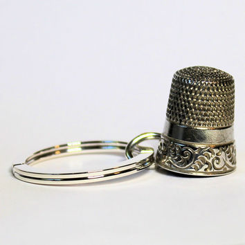 Peter Pan Thimble Jewelry Antique Solid Sterling Silver Key Ring, Peter Pan and Wendy Hidden Kiss