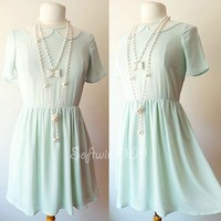 NEW Forever 21 Light Mint Green Floral Lace Inset Peter Pan Collar Skater Dress
