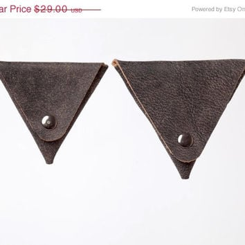 DISTRESSED gray leather coin purses, Mens wallets, SET of  Regular & MINI, Change purse, Geometric, Leather coin wallet