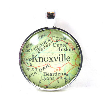 Knoxville, Tennessee, Pendant from Vintage Map, in Glass Tile Circle
