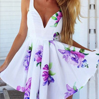 White Floral Strappy V-Neck Asymmetrical Pleated Chiffon Mini Dress