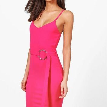Tall Sadi Buckle Detail Dress | Boohoo