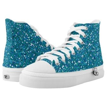 Blue teal glitter printed shoes