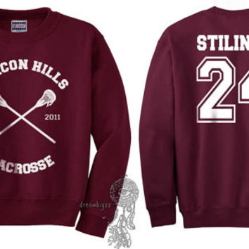 Beacon Hills Lacrosse CR Stilinski 24 Stiles Stilinski printed on Maroon Crewneck Sweatshirt