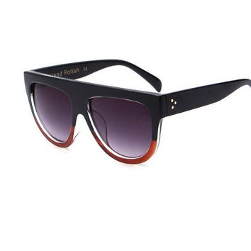 Flat Top Shield Female CL Oversize Shades Sunglasses