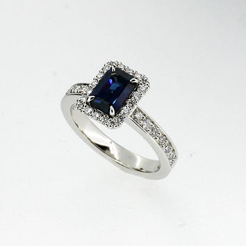 Emerald cut blue sapphire halo engagement ring, platinum ring, unique, blue sapphire engagement, diamond halo ring, custom, blue wedding