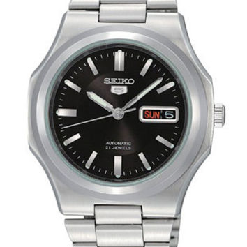 Seiko 5 Automatic Mens Watch - Black Dial - Stainless Case and  Bracelet