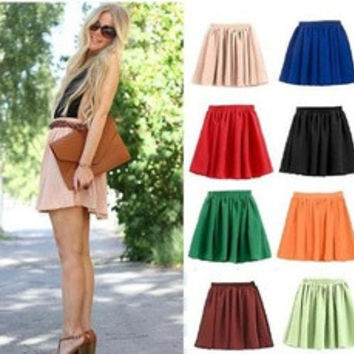 Vogue Lady Retro High Waist Pleated Double Layer Chiffon Short Mini Skirts Dress [8384176583]