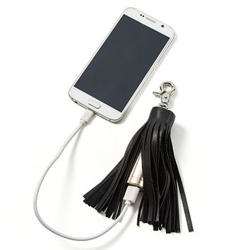 Vegan Leather Tassel Powerbank Charger in Gift Box